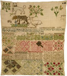 Linen sampler embroidered with silk and metal, by Jane Bostock, England, 1598. Museum no. T.190-1960 Victoria and Albert Museum