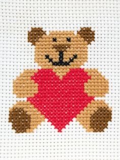 Buy Anchor Heart Teddy Starter Cross Stitch Kit from our Craft, Crochet & Sewing Kits range at John Lewis & Partners. Cross Stitch Letters, Cross Stitch Art, Cross Stitch Animals, Cross Stitching, Cross Stitch Embroidery, Cross Stitch Beginner, Cross Stitch For Kids, Simple Cross Stitch, Baby Cross Stitch Patterns