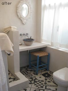 A very pretty bathroom redo from Design Sponge. I love the Moroccan tile! Not fond of bowl sinks, but this one works very well in the space. Small Bathroom Redo, Grey Bathrooms, Beautiful Bathrooms, White Bathroom, Moroccan Bathroom, Cozy Bathroom, Moroccan Tiles, Design Bathroom, Modern Bathroom