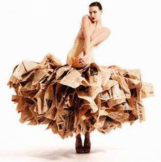 Image: Newspaper dress, made from 30 copies of the 'Financial Times'. Gary Harvey's first collection showcased nine of his stunning dresses at the Estethica exhibition at the  London Fashion Week (Feb 07). The collection creates a dramatic display