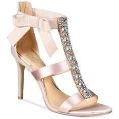 Jewel Badgley Mischka Henderson Strappy Bow Evening Sandals (61.440 CRC) ❤ liked on Polyvore featuring shoes, sandals, heels, champagne, embellished sandals, champagne shoes, glitter sandals, strap sandals and badgley mischka shoes