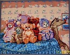 Tapestry for my second Son Over The Years, Folk Art, Teddy Bear, Tapestry, Animals, Hanging Tapestry, Animales, Tapestries, Popular Art