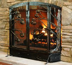 Hand Forged Wrought Iron Firescreens & Fire Tools at Black Mountain Iron Works