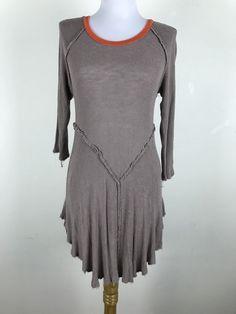 Intimately Free People Blouse Mini Dress Size L Taupe Orange Knit Rayon Spandex #FreePeople #Blouse