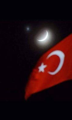 a nation's flag in the sky Turkey -Gökyüzü ay yıldız Turkey Flag, Eurasian Steppe, Blue Green Eyes, Indian Language, The Turk, Turkish Delight, Iron Age, Antalya, Rugs On Carpet