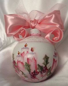 Hand Painted Christmas Ornament Cottage Chic Pink Candles Holly Shabby Lace HP