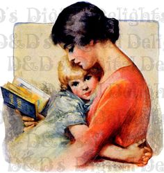 Mother READS to Daughter. Fairy Tales.  Vintage ILLUSTRATION. DIGITAL Download.