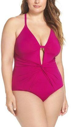 831a9f12ae7 Plus Size Women s La Blanca Twist Front One-Piece Swimsuit Plus Size Online  Shopping