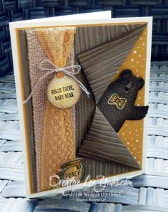 Peek-a-boo Bear by Wendy Lee, #creativeleeyours, Stampin' Up!, April 2016 FMN class, Bear Hugs stamp set, Bear Hugs framelits