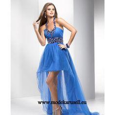 Neckholder Vokuhila Abendkleid in Blau Vorne Kurz Hinten Lang