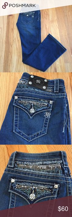 "Miss Me Embellished Boot Cut Miss Me embellished boot cut jeans. In excellent condition, only worn a couple times. Bottom of the pant legs look brand new. A couple rhinestones are missing but it's hardly noticeable (see pictures). Inseam is 34"" Miss Me Jeans Boot Cut"
