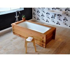 Cedar Freestanding Outdoor Bath. Australian made, economic friendly made out of reclaimed timber $4200