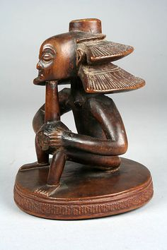 Master of the Cascade Coiffure | Headrest Base: Seated Female Figure | Luba peoples | The Met