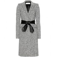Saint Laurent Tweed Coat With Leather Belt (€1.695) ❤ liked on Polyvore featuring outerwear, coats, jackets, coats & jackets, dresses, tweed wool coat, cold weather coats, belted coat, yves saint laurent and tweed coat