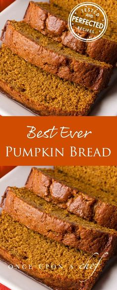 Spiced Pumpkin Bread is the BEST EVER! Soft, fluffy, moist and tender! Easy and delicious!This Spiced Pumpkin Bread is the BEST EVER! Soft, fluffy, moist and tender! Easy and delicious! Köstliche Desserts, Delicious Desserts, Dessert Recipes, Yummy Food, Recipes Dinner, Drink Recipes, Fall Recipes, Holiday Recipes, Meals Kids Love