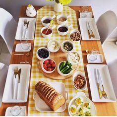 Breakfast Table Setting, Breakfast Platter, Breakfast Buffet, Breakfast Time, Breakfast Presentation, Food Presentation, Food Set Up, Brunch Table, Home Grown Vegetables
