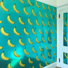 Banana Wallpaper by Merenda Wallpaper at Private Residence, Brooklyn Accent Wallpaper, More Wallpaper, Wall Installation, New Artists, Designer Wallpaper, Your Space, Brooklyn, Banana, Living Room