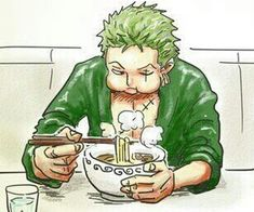 One Piece. Zolo / Zoro eating noodles