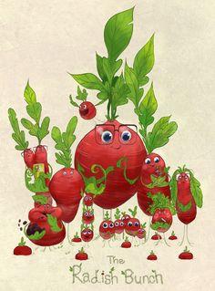 The Radish Bunch. Plant Monster, Monster Art, Ballon Animals, Posca Art, Visual Development, Comic, Food Illustrations, Creature Design, Cute Illustration