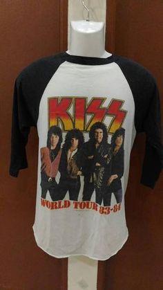 8c96cecfa Vintage Kiss band tee shirt Raglan 80s World Tour 1983 - 1984 tour tee
