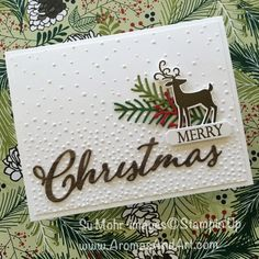 Su Mohr: Stampin' Up! Merry Christmas to All Bundle and Dashing Deer Bundle; Under The Mistletoe Designer Series Paper (backdrop for photographing the card) Christmas Cards 2018, Stamped Christmas Cards, Homemade Christmas Cards, Merry Christmas To All, Noel Christmas, Xmas Cards, Homemade Cards, Handmade Christmas, Holiday Cards