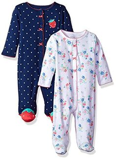 Carter's Baby Girls' 2-Pack Cotton Sleep and Play, Strawberry/Floral, 6 Months