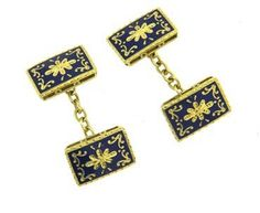 A pair of 18k yellow gold cufflinks, decorated with blue enamel ornament.  DESIGNER: Not Signed  MATERIAL: 18K Gold  GEMSTONE:…
