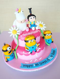 Cute Despicable Me Minion Cake Design - all figurines are handmade and edible! www.thecakinggirl.ca