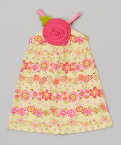 This Yellow Floral Rosette A-Line Dress - Infant, Toddler & Girls is perfect! #zulilyfinds