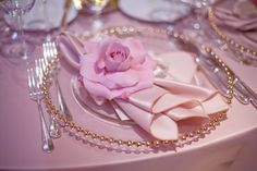 Not necessarily the gold beaded plate but a pink flower on each plate could be very elegant. :) elegant-light-pink-wedding-reception-table-set-up-. Wedding Reception Places, Romantic Wedding Receptions, Wedding Reception Decorations, Wedding Centerpieces, Elegant Wedding, Trendy Wedding, Romantic Table, Church Wedding, Hotel Wedding