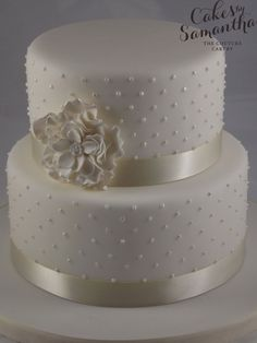 ruffle wedding  cake | ... - Small, 2 tier wedding cake with pearl piping and ruffle flower