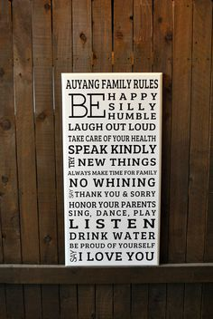 """Custom Handmade Large Family Rules Sign, 18""""x36"""" House Rules, wood signs HOUSEWARMING GIFT, HOLIDAY gift guide, Wall decor, Home Decor"""