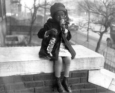 African American Girl Eating Ice Cream in Winter, 1922