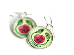 """red and green POPPY Earrings - festive frida kahlo """"poppy jewelry""""  handcrafted art jewelry. $24.00, via Etsy."""