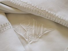 Antique French Large Unused Beautiful Linen Sheet With SM Monogram In Hand Embroidered Triangular Framework by VintageFrenchFinds, $250.00