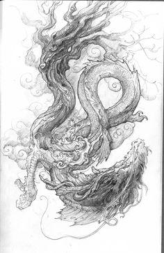 Chinese Dragon-sketch, Zhelong XU on ArtStation at https://www.artstation.com/artwork/RLG8A