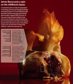 Peanut Butter and Jelly on top of a brownie wrapped in phyllo dough making it look like a flame. Yummy!