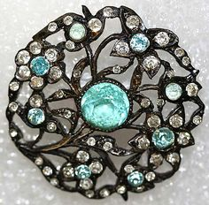 Antique Aqua, Glass, Rhinestone, and Silver Button. Button Art, Button Crafts, Silver Buttons, Vintage Buttons, Antique Jewelry, Vintage Jewelry, Look Vintage, Turquoise, Sewing A Button