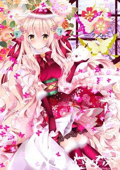 X-mas neko girl Chica Anime Manga, Anime Neko, Anime Art, Loli Kawaii, Kawaii Anime Girl, Pretty Anime Girl, Beautiful Anime Girl, Touhou Anime, Anime Sisters