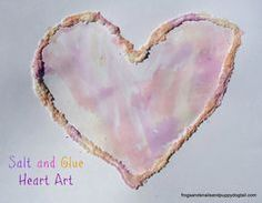 Salt and Glue Heart Art with homemade scented watercolors by FSPDT