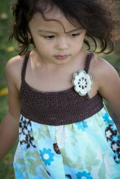 Crochet Dress Pattern - Make Your Own Girls Crochet and Fabric Summer Dress - Pattern Tutorial FOUR Sizes 4 to 7 Yrs Emailed2U