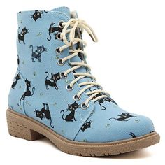 Preppy Lace-Up and Kitten Design Women's Flat Short Boots
