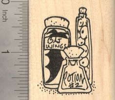 Halloween Witchs Potion Rubber Stamp with bottled Bat Wings ** Check this awesome product by going to the link at the image.