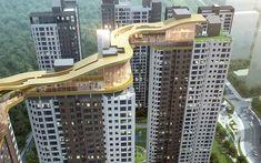 부산 우동3구역 주택재개발 Architecture Concept Diagram, Futuristic Architecture, Facade Architecture, Residential Building Design, Residential Complex, Tower Building, Building Facade, Sky Walk, Future Buildings