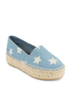 STEVE MADDEN Star-Print Flatform Espadrilles. #stevemadden #shoes #flats