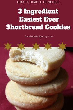 Easy Three Ingredient Shortbread Cookie recipe Easiest ever 3 ingredient shortbread cookies you'll ever make. I first had these homemade about 10 or so years ago at work. Simple Deliciousness in a bite . 3 Ingredient Shortbread Cookie Recipe, Three Ingredient Cookies, Best Shortbread Cookies, Three Ingredient Recipes, Easy Sugar Cookies, Shortbread Recipes, Sugar Cookies Recipe, Short Bread Cookies Easy, Easy Shortbread Recipe 3 Ingredients