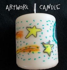 Kids' artwork candle. Draw on tissue paper, then melt onto candle with a hair dryer and wax paper. Good Mother's Day present!