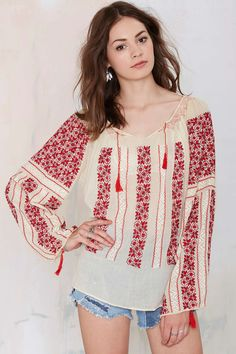 Vintage Lupita Embroidered Blouse