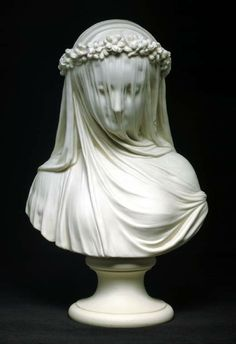 Copeland Parian bust: The Bride, 19th century. Derived from Raffaele Monti's Veiled Vestal, 1847.