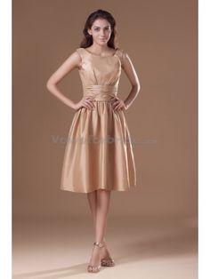 Taffeta Scoop Neckline Knee Length A-line Cocktail Dress